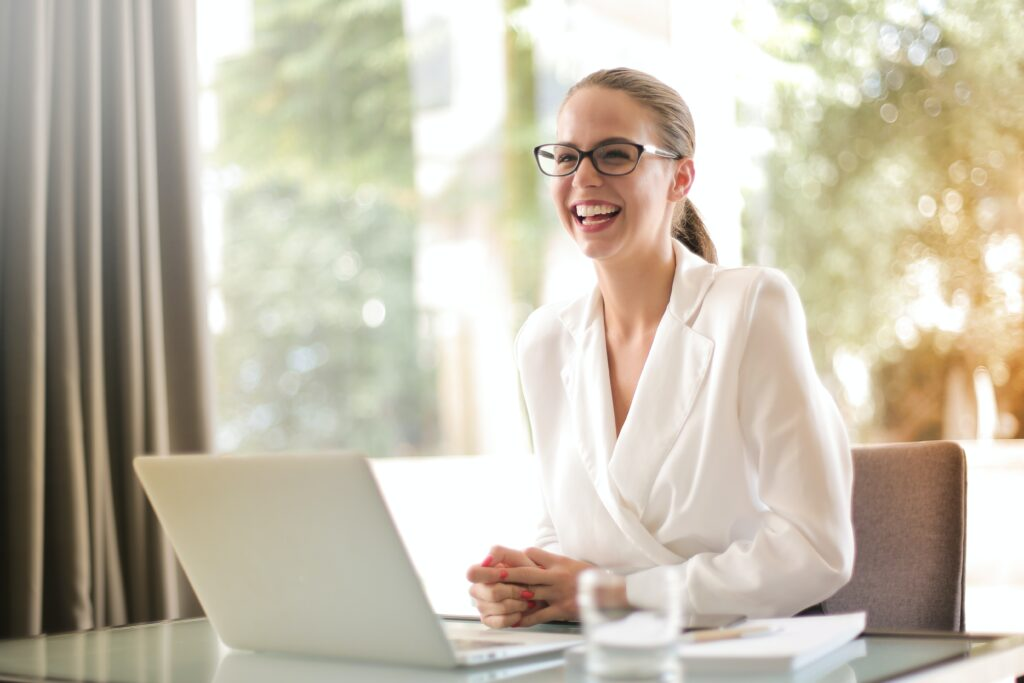 Business Woman at a Computer in Home Office